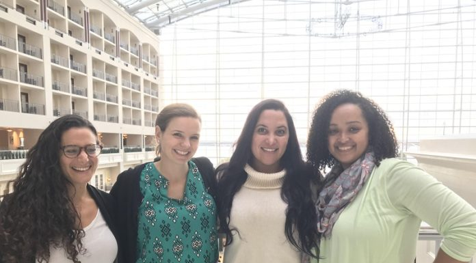 Co-chairs of the ACNM 64th Annual Meeting Local Committee gather at the Gaylord Resort & Convention Center. From left: Zoe Gutterman from DC; Katie McDevitt from DC; Jenna Benyounes from VA: Rhea Freeman from MD.